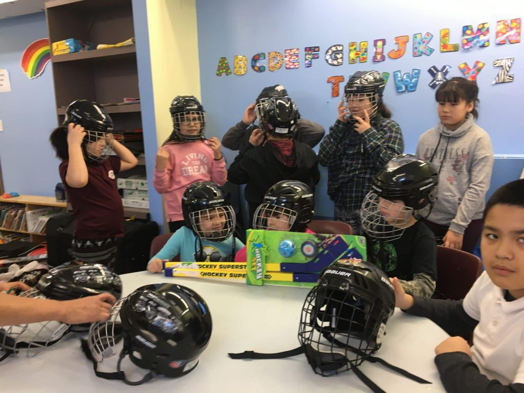 Friends of the North Misiway children with their new helmets donated by Linda Marshman as part of her Wilf Wilkinson award